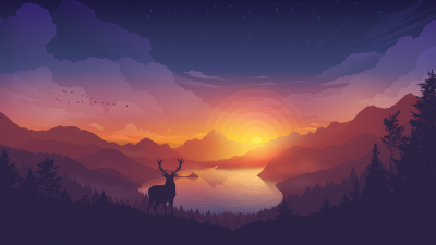 Lakeside, Evening, Deer, Minimal art, Landscape, Scenic, Panorama, Aesthetic, 5K, 8K