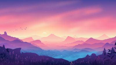 Valley, Landscape, Mountains, Gradient background, Colorful background, Scenery, Layers, Panorama, 5K