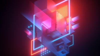 3D cubes, 3D model, Neon
