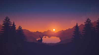 Lakeside, Sunset, Deer, Minimal art, Landscape, Scenic, Panorama