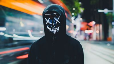 Persons in Mask, Neon Mask, Black Hoodie, Anonymous, 5K