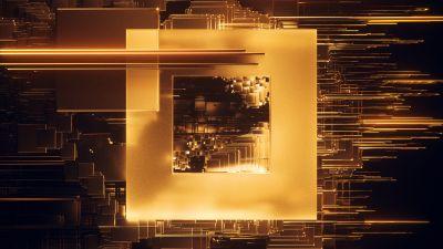 Square, Glitch, Golden