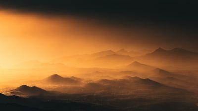 Montanas Negras, Spain, Volcano, Black Mountains, Mountain range, Sunset, Aerial view, Landscape, Fog, 5K