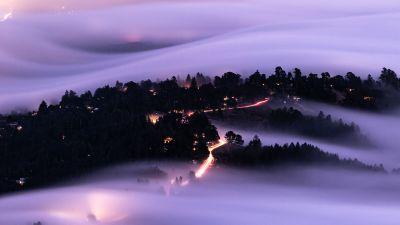 Mount Tamalpais, Mountain Peak, California, USA, Aerial view, Fog, Long exposure, Landscape, Light trails, 5K