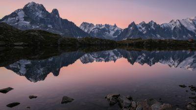 Cheserys Lake, France, Mountain lake, Reflection, Body of Water, Mountain range, Glacier mountains, Snow covered, Landscape, Scenery, 5K