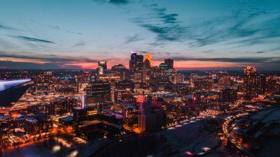 Minneapolis, Minnesota, USA, Cityscape, City lights, Skyline, Aerial view, Dusk, Skyscrapers, 5K, 8K