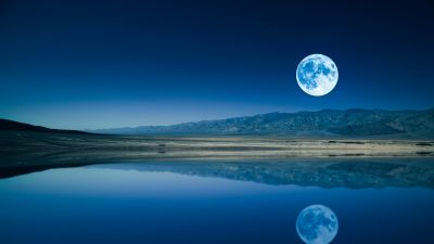 Full moon, Night time, Lake, Body of Water, Reflection, Landscape, Scenery, Sunset, Dusk, Clear sky. 5K, 8K