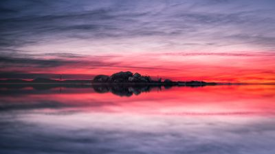 Sunset, Lake, Red Sky, Landscape, Scenery, Body of Water, Reflection, Evening, Cloudy Sky, Horizon, 5K, 8K