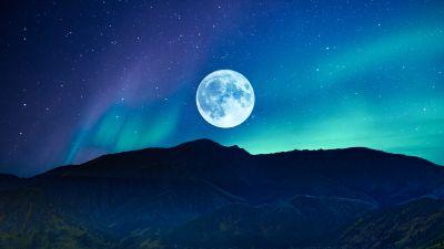 Full moon, Aurora Borealis, Night time, Mountain, Silhouette, Landscape, Starry sky, Surreal, Scenery, Natural Phenomena, 5K, 8K
