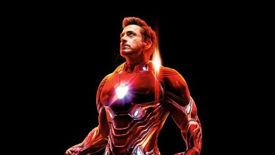 Iron Man, Avengers: Infinity War, Black background, 5K, 8K