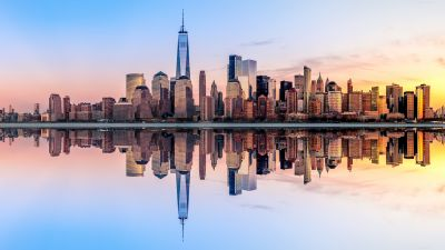 New York City, Skyline, Panorama, Sunset, Skyscrapers, Reflection, Cityscape, Digital composition, Aesthetic, 5K