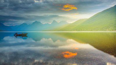 Lake McDonald, Glacier National Park, Montana, Sunrise, Golden hour, Mountain range, Body of Water, Reflection, Cloudy Sky, Landscape, 5K