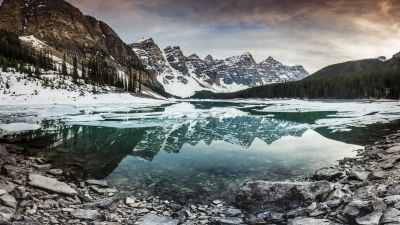 Mountain lake, Mountain range, Reflection, Landscape, Snow covered, Winter, Dusk, Scenery, 5K, 8K