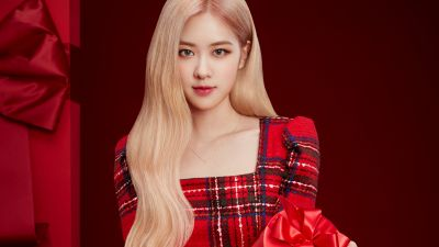 Jisoo, Blackpink, K-Pop singer, Red background, 5K