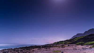 Moon light, Beach, Night sky, Seascape, 5K