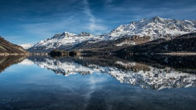 Piz Corvatsch, Switzerland, Swiss Alps, Glacier mountains, Snow covered, Lake Sils, Reflection, Daytime, Landscape, Scenery, Blue Sky, 5K