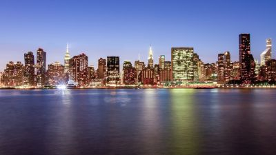 New York City, Cityscape, City lights, Skyline, Night time, Body of Water, Reflection, Long Exposure, Dusk, Skyscrapers, Clear sky, 5K
