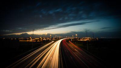 Highway, Light trails, Long exposure, Night time, Dusk, Traffic, 5K