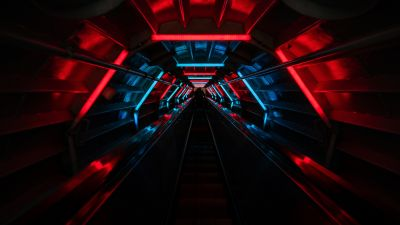 Tunnel, Vanishing point, Red lighting, Blue light, Black background, Pattern, Long exposure, Neon Lights, 5K