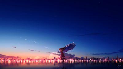 Anime girl, Angel, Happiness