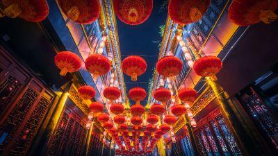 Lantern Festival, Chinese New Year, China, Lanterns, Night, 5K