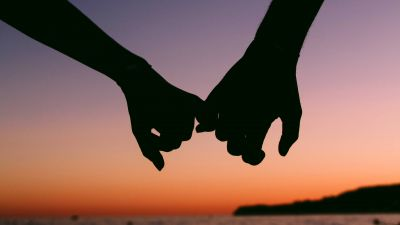 Hands together, Couple, Silhouette, Sunset, Romantic