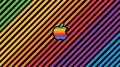 Apple, Colorful, Stripes, Multicolor, Apple logo, Aesthetic, 5K