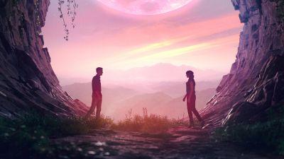 Couple, Romantic, Cave, Digital Art