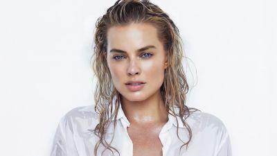 Margot Robbie, Australian actress, Beautiful actress, White background, 5K