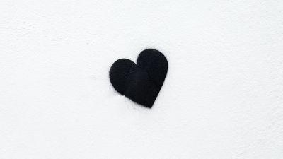 Black heart, Love heart, White background, Monochrome, 5K
