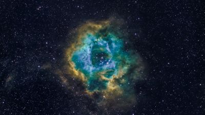 Rosette Nebula, Milky Way, Blue Galaxy, Hubble Palette, Astronomy, Stars, Outer space