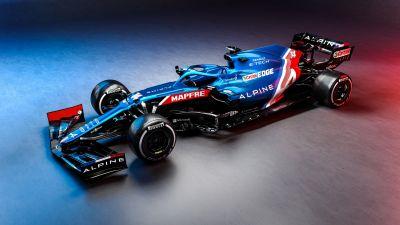 Alpine A521, F1 2021, F1 Cars, 2021 Formula One World Championship, Racing cars, Race track, 2021