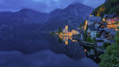 Mountains, Town, Church, Evening, Cold, Lake, Hallstatt, Austria, 5K, 8K