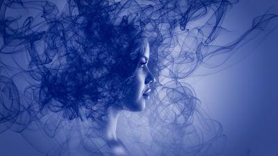Woman, Girl, Blue, Smoke, Dream, 5K