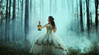 Girl, Lamp, Forest, Fog, Woman, Dream, 5K