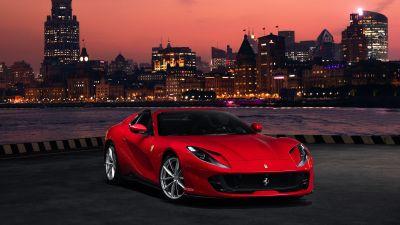 Ferrari 812 GTS, Red Cars, 5K