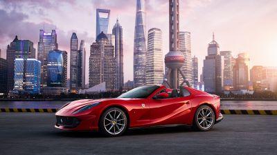 Ferrari 812 GTS, Red Cars, Shanghai, Cityscape, Skyscrapers, 5K
