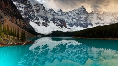 Banff National Park, Moraine Lake, Scenery, Mountains, Reflection, Snow covered, Forest, Alberta, Canada