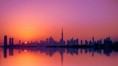 Dubai City, Skyline, Silhouette, Cityscape, Sunset, Burj Khalifa, Purple sky, Body of Water, Reflection, Skyscrapers, Dusk, United Arab Emirates, 5K