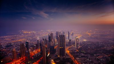 Dubai City Skyline, Cityscape, Aerial view, Skyscrapers, High rise building, Sunrise, Dawn, City lights, 5K