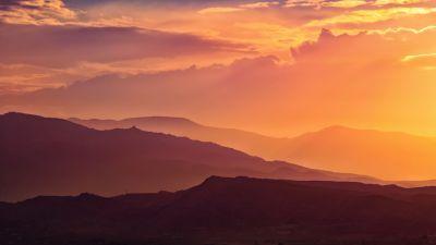 Sunset, Mountain range, Silhouette, Landscape, Orange Sky, Clouds, Sun light, 5K