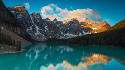 Moraine Lake, Alberta, Canada, Mountain range, Blue Sky, Clouds, Turquoise water, Reflection, Body of Water, Landscape, Scenery, Snow covered, 5K
