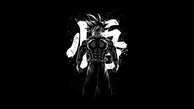 Goku Musculoso, Dragon Ball Z, AMOLED, Minimal, Black background, 5K