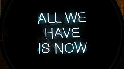 All we have is Now, Neon sign, Typography, Black background, Wall