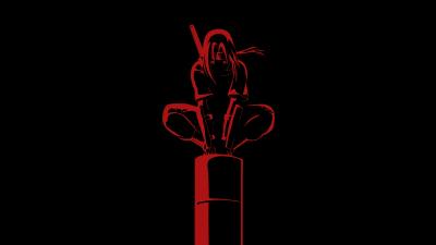 Itachi Uchiha, Naruto, AMOLED, Black background, 5K