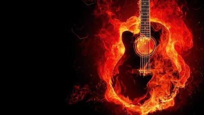 Flaming Guitar, Black background, Musical instrument, Fire, Digital Art, Burning