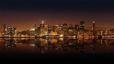 San Francisco City, Skyline, United States, Night time, Cityscape, City lights, Body of Water, Reflection, Skyscrapers