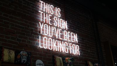 This Is The Sign You've Been Looking For, White Neon Sign, Signage, Brick wall, Neon light, 5K