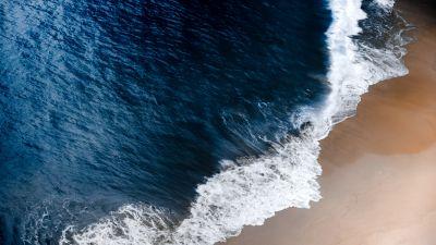 Seashore, Beach, Ocean Waves, Aerial view, Landscape, Coastal, 5K
