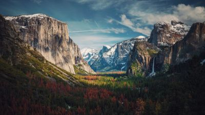 Yosemite Valley, Glacier mountains, Mountain range, Landscape, Scenery, 5K, 8K